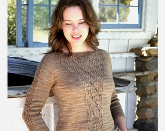 INSTANT DOWNLOAD PDF Knitting Pattern for Women's Lace Sweater Jumper Pullover with Lace