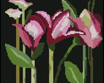 Digital #1 Needlepoint Pattern of Pink Day Lilies