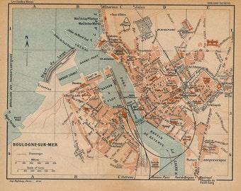1922 Boulogne-Sur-Mer France Antique Map