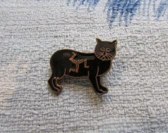 Circa 1960s enamel lucky black manx cat brooch, souvenir pin