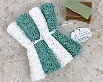 Cotton Washcloths Sea Green White Cotton Spa Cloths Crochet Wash Cloth Set Seafoam Sea Spray Spa Gifts for Women Handmade Washcloths Knit