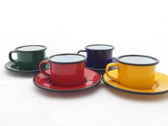 service caf 4 tasses 4 soucoupes tole maill e jaune. Black Bedroom Furniture Sets. Home Design Ideas