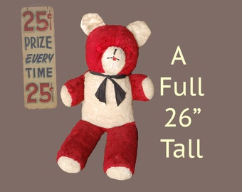Carnival prize bear, Well loved very large stuffed bear with a  great little black tie.