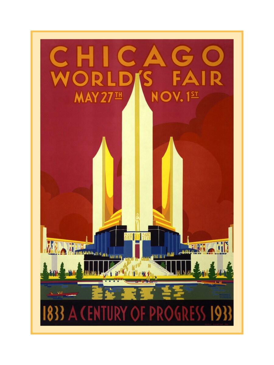 Chicago worlds fair poster 1933 vintage chicago art prints for Vintage chicago posters