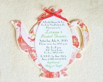 Teapot Bridal Shower Invite - Teapot Baby Shower Invite - Teapot Centerpiece - Hootsie