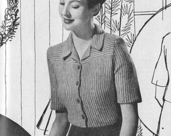 Vintage 1943 Knitting Pattern Ladies Pinstripe Blouse - digital file