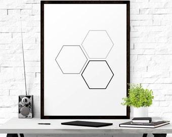 Geometric Print, Abstract Wall Art, Geometric Abstract Art, Nursery Decor, Honeycomb Print, Modern Art, Graphic Poster, Digital Download Art