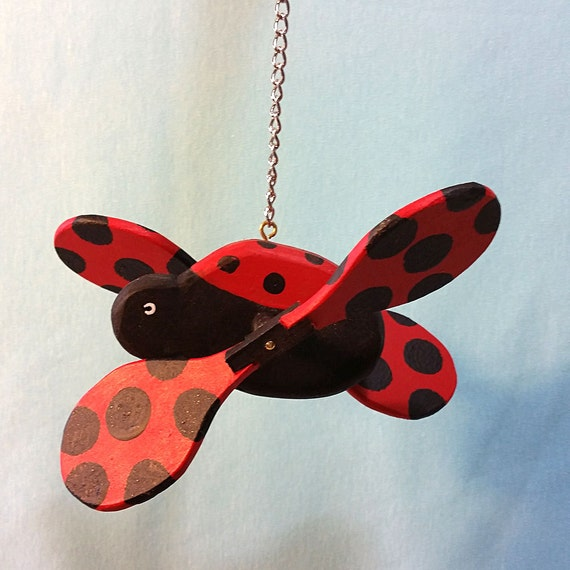 Wooden Ladybug Whirligig Decor For Home Garden By Puppetpets