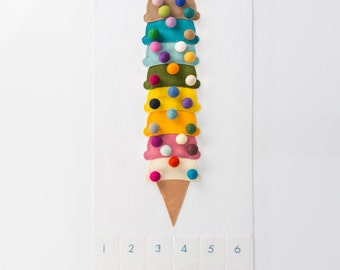 Happy Birthday To You - Felt Countdown Pattern - Happy Birthday - Ice Cream - 'Cherry On Top with 30 Mixed Sprinkles'