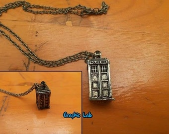 Bronze necklace with Tardis in Doctor Who