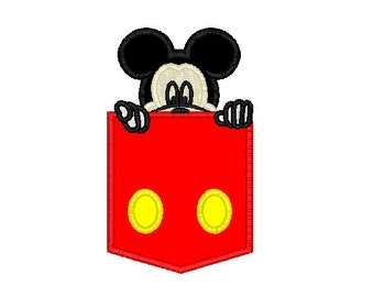 Mickey Mouse Applique Pocket Embroidery Design in 3 Sizes - Instant Download