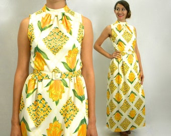 70s Yellow Print Maxi Dress | Long Sleeveless Floral Dress, Small