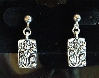 Lotus Surgical Steel Post Earrings