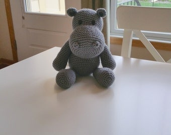 Baby Girl Gift, Baby Boy Gift, Stuffed Hippo, Stuffed Hippopotamus, Gender Neutral Gift, Hippo Stuffed Animal, Crochet Hippo, Nursery Decor