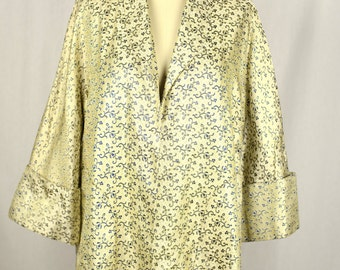Vintage 1950s Jacket / Cream Silk Brocade 50s Jacket