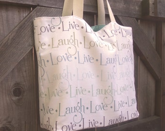 Live, Laugh, Love, Canvas Shopping Bag, Tote, Grocery Bag, Reusable, Vegan
