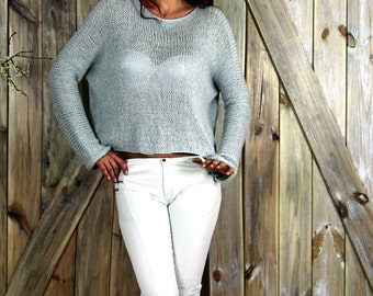 Open Waves Minty Sweater, Loose Knit Sweater, Open Waves Summer Sweater, Minty Sweater,