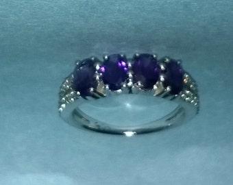 Amethyst ring with zircon