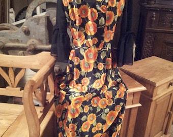 original vintage 1970s maxi dress bell sleeves floral pattern orange and black