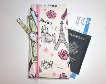 SALE - Travel organizer with zipper pocket- long boarding pass holder - passport cover - pink, paris, grey