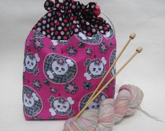 Pirate Girl Knitting Crochet Project Bag