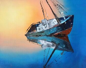 Stranded in blue, sunset PRINT
