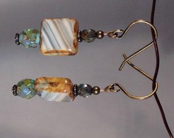 Neutral tone Czech glass earrings