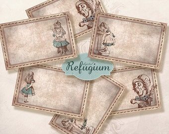 printable Alice in Wonderland Labels/ Digital Collage Sheet/ INSTANT DOWNLOAD/storage