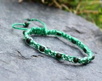 Emerald Green Aventurine Gemstone Ombre Adjustable Macrame Friendship Bracelet