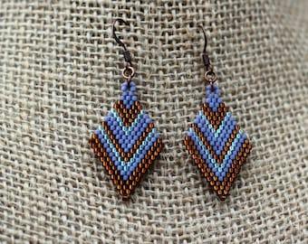 Beaded Brick Stitch Earrings in Light Plum, Chocolate, and Seafoam, Diamond Shaped Chevron Striped Beadwork Earrings