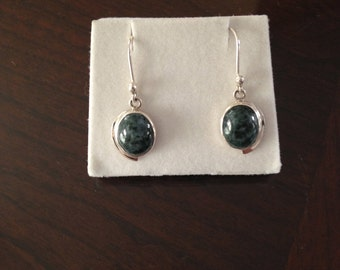 grey jade Silver earrings