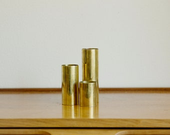 Mid Century Modern Brass Candle Holders - Set of 3