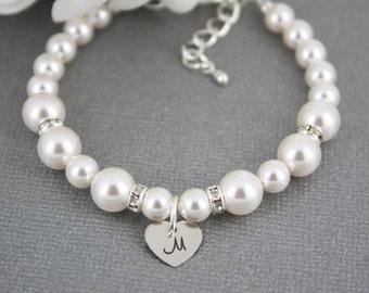 Swarovski Pearl Bracelet, Bridesmaid Bracelet, Bridesmaid Gift, Personalizes Bracelet, Wedding Bracelet, Maid of Honor Gift, Jewelry, Gift