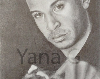 Vin Diesel. Graphite portrait drawing. Celebrity portrait. Original art