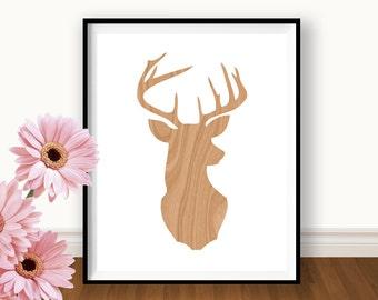Deer Print - Deer Silhouette - Wood - Ram's Head - Minimalist Art - Home Decor - Woodland