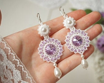 "Bead woven earrings ""Violet"". Beadwoven earrings with Swarovski crystal and pearl. Beaded earrings. Bead weaving, beadwork earrings"