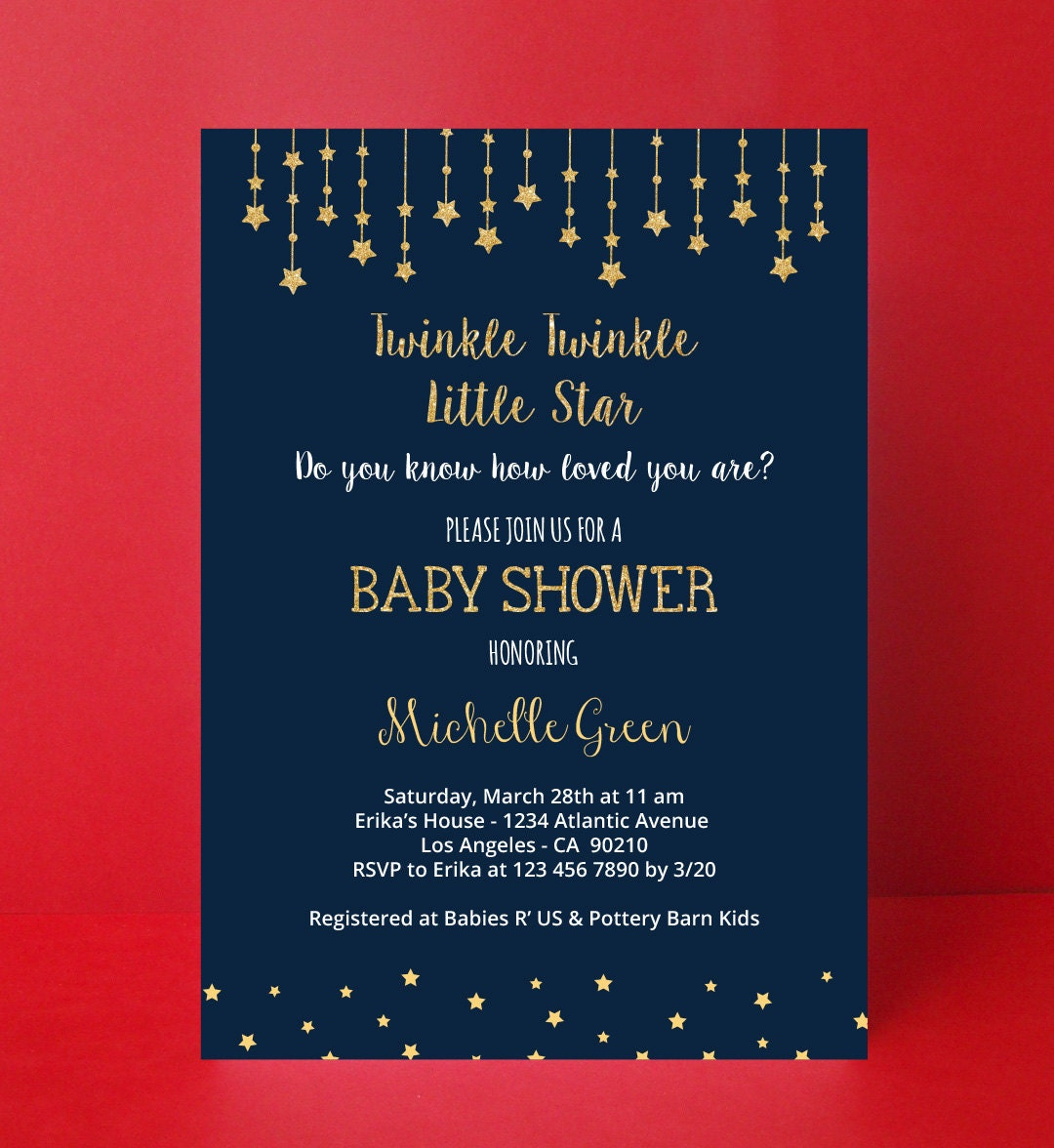 twinkle twinkle little star invitation baby by paperpartydesign