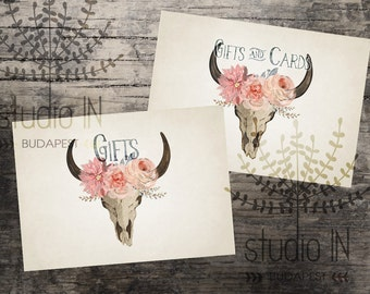 Gifts and Cards sign printable, wedding gift and cards sign, bohemian wedding printable, rustic wedding sign, INSTANT DOWNLOAD