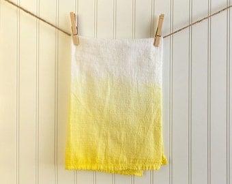 Ombre Dip Dyed Cotton FlourSack Tea Towel, Yellow