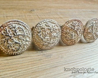 """SET OF 4 - Antiqued White """"Lace"""" Inspired Distressed Pewter Knob - Cream Ivory Rustic Shabby Chic Painted Drawer Pull Decorative Tree Motif"""
