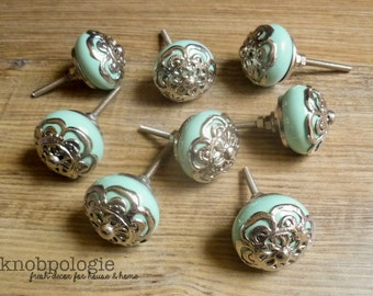 SET OF 8  -  Mint Green Ceramic Knob with Silver Filigree Overlay - Seamist Seafoam Blue Drawer Pull - Shabby Chic Home Decor - Beach Theme
