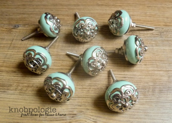 SET OF 8 Mint Green Ceramic Knob With Silver Filigree