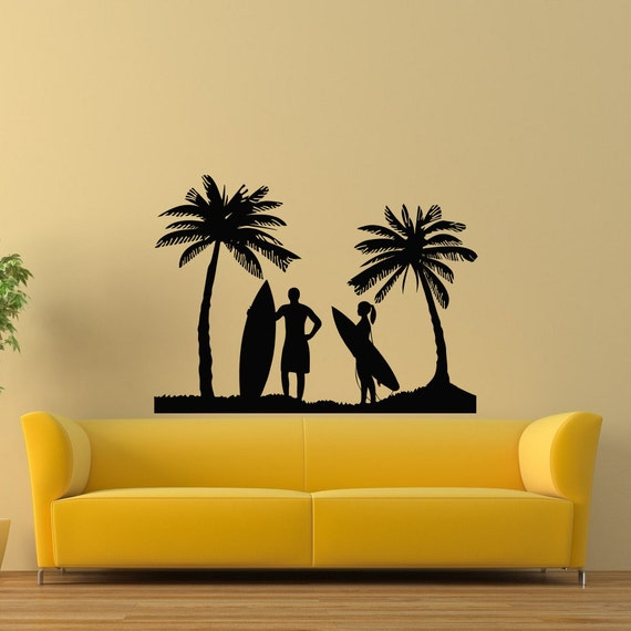 Silhouette Surfing Wall Decals by WisdomDecals