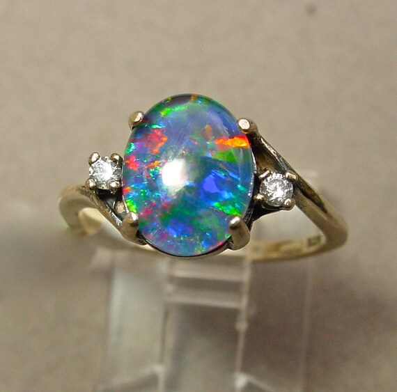 The perfect Opal Engagement Ring Opal Diamond ring by AmyKJewels