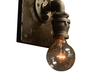 Farmhouse decor - old light - wood light - Industrial sconce - boho - Industrial light - vintage light - wood sconce - sconce light - light