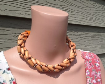 Vintage Wood Choker Necklace Four Strand Twist