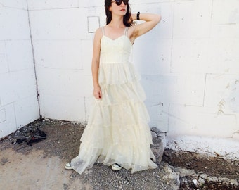 1980's Polka Dot Wedding Dress // Kitsch Vintage Tiered Wedding Gown