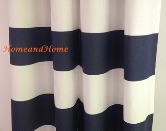 Stripe curtain Rod pockert curtains drapery panels custom drapes window treatment long curtains custom drapery panels Cabana Navy curtain