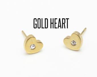 Gold Heart Stud Earrings, Heart Earrings, Gold Heart Earrings, Heart Studs, Love Jewelry, Love Heart Stud Earrings