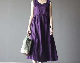 Purple linen sleeveless dress-small V neck linen dress-women sundress-loose dress-maxi dress-plus size dress-holiday dress